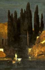 Первый вариант картины  «Остров мертвых». 1880 г. Фрагмент.