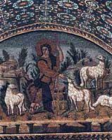 Христос - добрый пастырь. Мозаика в мавзолее Галлы Плацидии